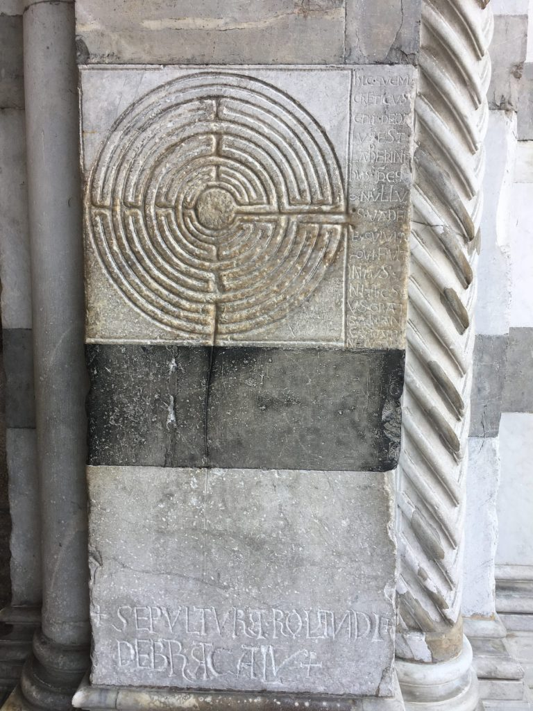Labyrinth at the entrance to Lucca cathedral