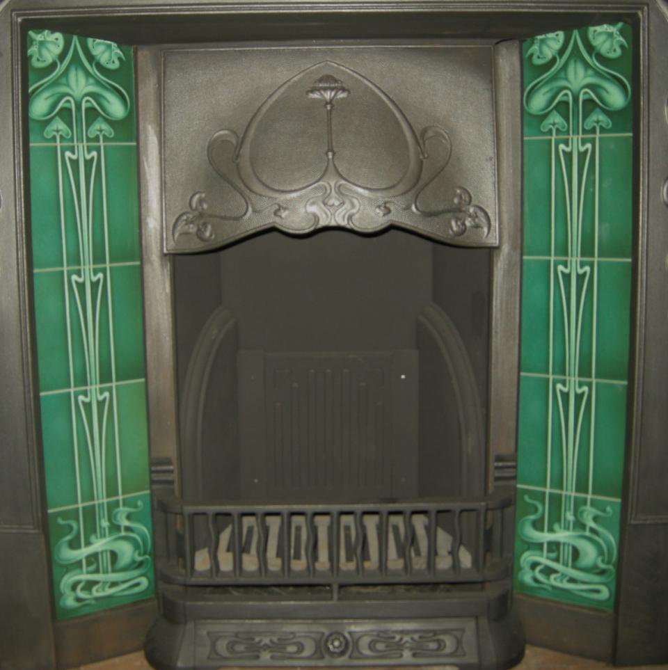 gas decorative art nouveau fireplace tiles set ref 25 bottle green