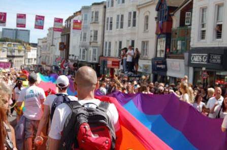 pride flag paves the street