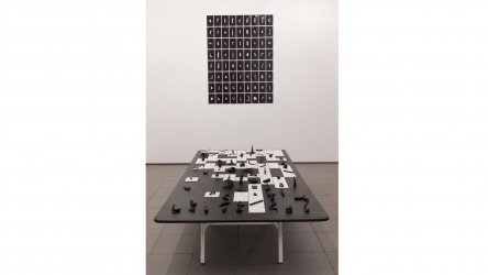 Inner stranger | 2015 | installation of 72 photo prints, table top, table legs, tiles, clay objects | variable dimensions