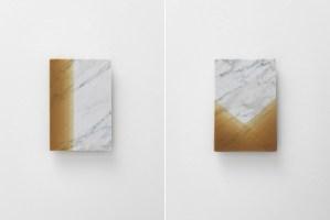 Left: MW13b   Right: MW13c   2016   carrara marble, beeswax   23,5 x 34,5 x 1 cm   Photo © Stefano Tonicello