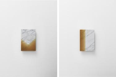 Left: MW13b | Right: MW13c | 2016 | carrara marble, beeswax | 23,5 x 34,5 x 1 cm | Photo © Stefano Tonicello