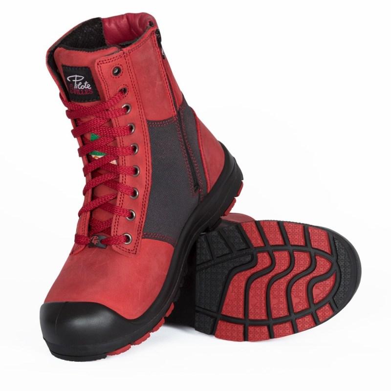 Bottes de sécurité à cap d'acier pour femme de couleur rouge et noire