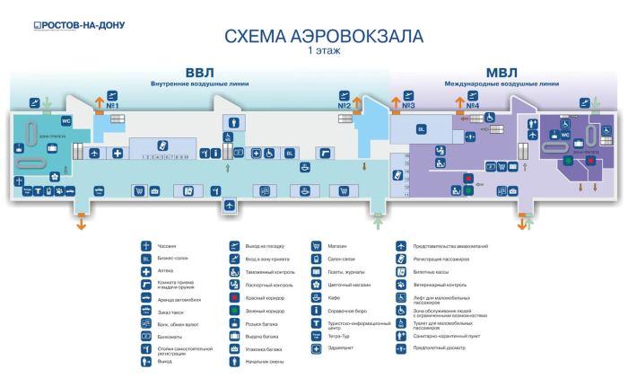 Схема 1 этаж аэропорта Ростов на Дону