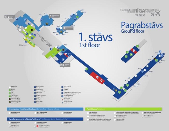 Аэропорт Рига схема 1 уровень
