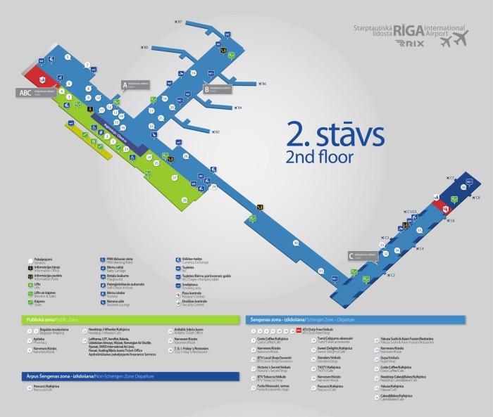 Аэропорт Рига схема 2 уровень