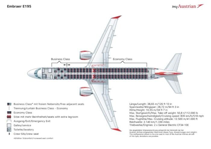 Embraer 195 схема салона