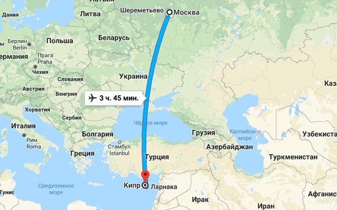Карта Москва Кипр