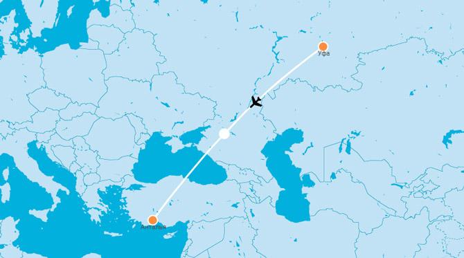 Карта Уфа-Анталья