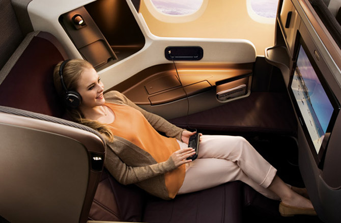 Сингапурские Авиалинии салон самолета бизнес класс