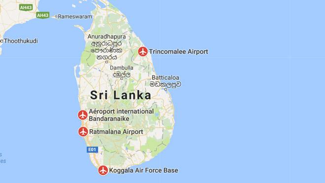 Аэропорты на карте Шри Ланка