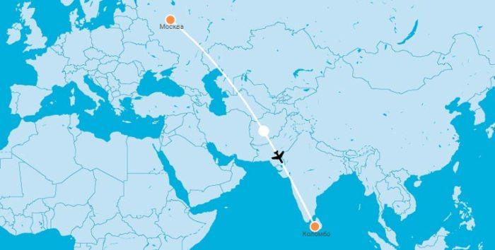 Карта перелета Москва Коломбо