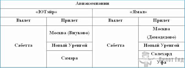 Таблица 3. Авиаперевозчики