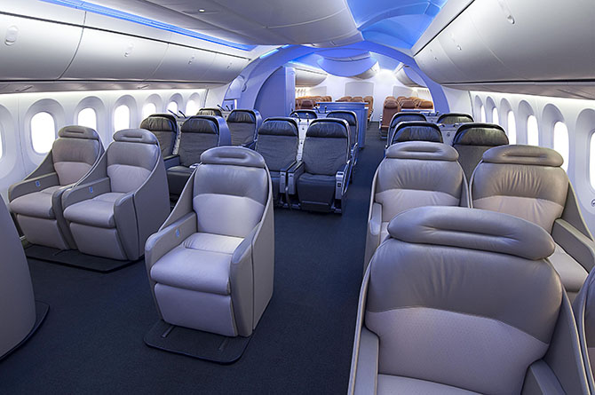 Боинг 787 (Dreamliner) интерьер салона