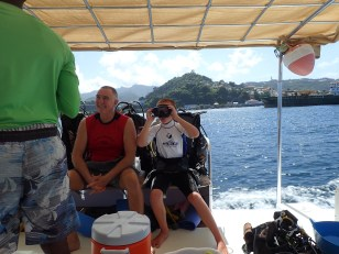 Randy & Ryan gearing up on the dive boat, Grenada