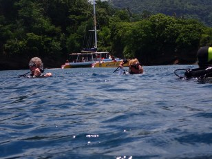 Capt. Ed & Mrs. Cheryl, getting into the water for dive #2, Molinere Bay, Grenada