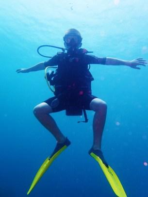 Ryan at the under water sculpture park, Molinere Bay, Grenada