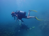 Ryan and Capt. John, Underwater sculpture park, Molinere Bay, Grenada