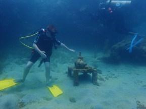 Ryan diving the Underwater Sculpture Park, Molinere Bay, Grenada