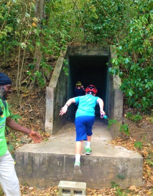 Climbing into the bunker, St. Lucia