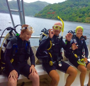 Ryan, John & Paulette getting ready to do the superman dive at the Pitons in St. Lucia