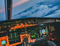 A320 Sunset Cockpit Wallpaper