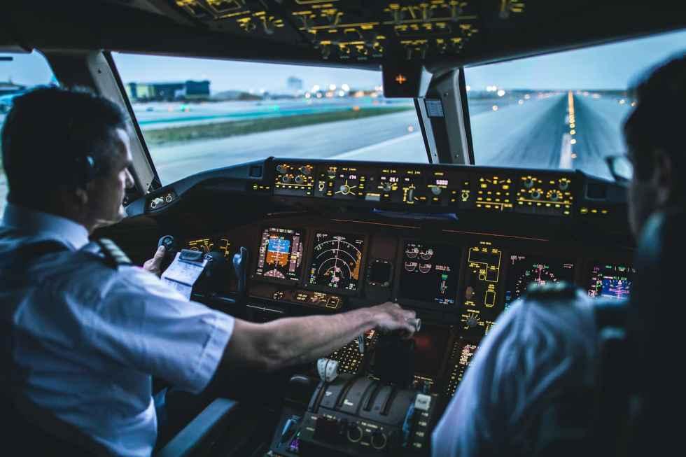 lx 41 b777 takeoff from runway 24L at dawn