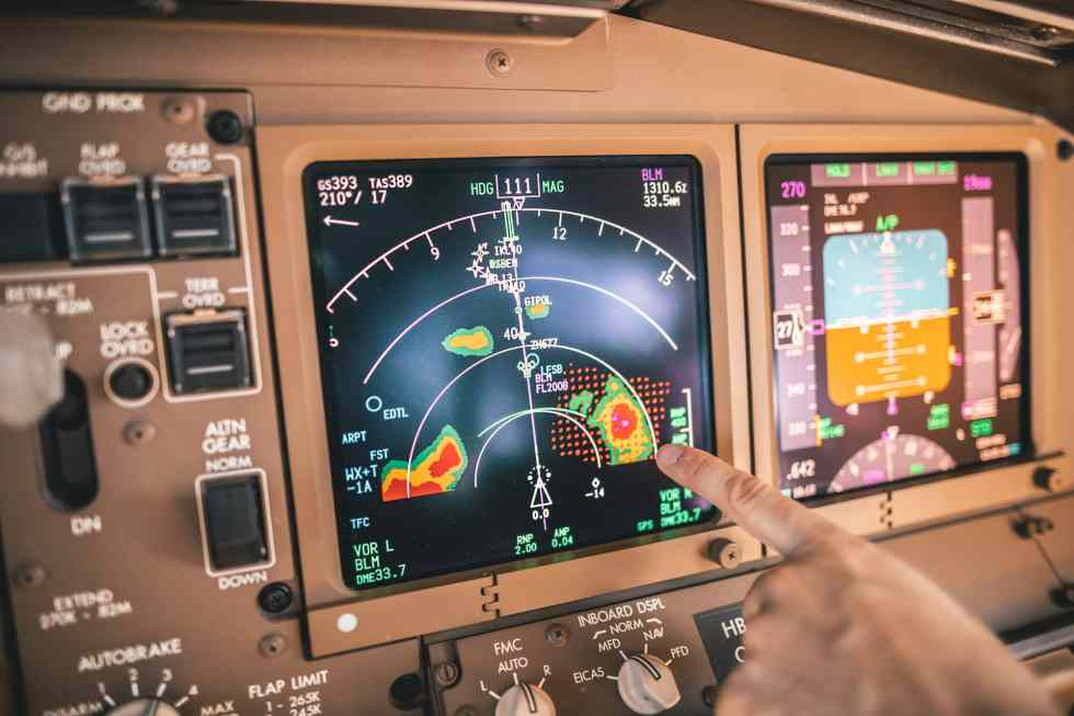 CB clouds pictured on the weather radar on the Boeing 777 cockpit navigation display