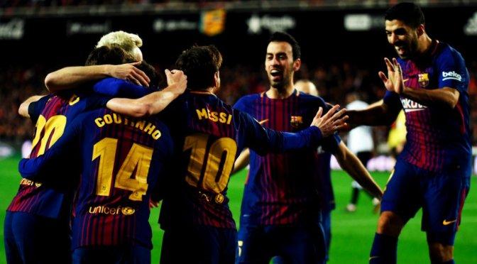 Barcelona, próximo a final de Copa del Rey al ganar 2-0 al Valencia