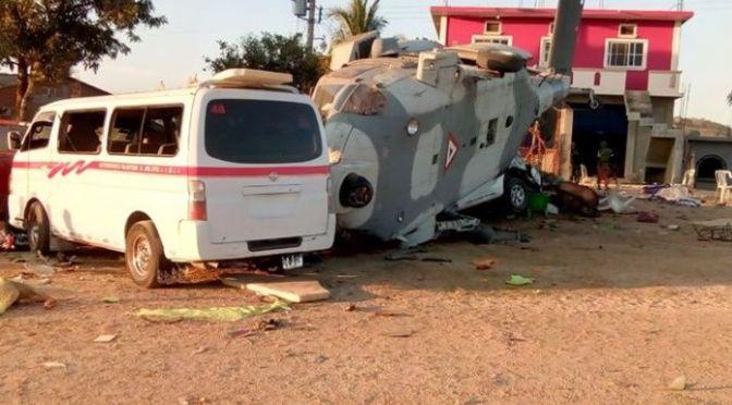 Dan de alta a 3 heridos tras desplome de helicóptero en Jamiltepec
