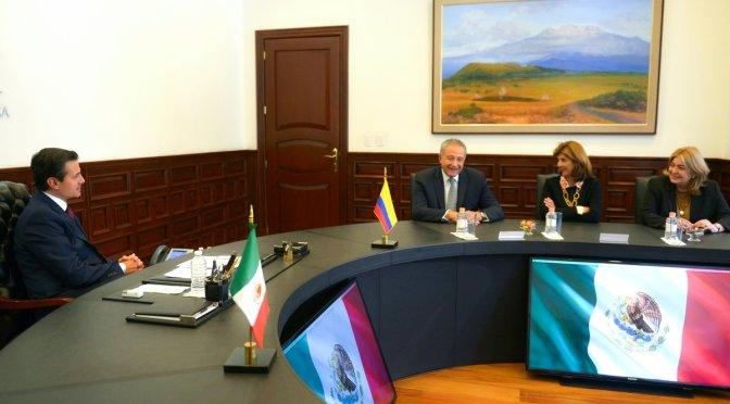 Peña Nieto se reúne con vicepresidente y ministra de Colombia