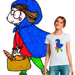 t-shirt femme la petite fille au panier garni illustration par Abi