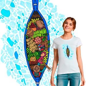 t-shirt femme la barque à fruit illustration par Abi