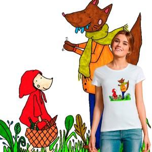 t-shirt Femme Le Petit Chaperon Rouge illustration par Abi