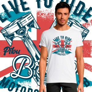 T-shirt Homme Live to Ride British By Old School moto