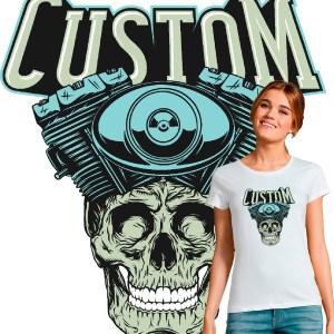 t shirt femme motarde custom skull tête de mort moteur harley davidson
