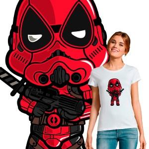 T-shirt femme crossover pop culture Deadpool Stormtrooper