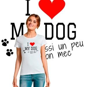 Offrez-vous ce Magnifique T-shirt femme I LOVE MY DOG et un peu aussi mon mec original et agréable à porter, imprimé et expédié directement depuis notre atelier Français situé à Jurançon au cœur des Pyrénées, en plein Béarn 64 niché entre l'océan et la montagne. Disponible en taille S, M, L, XL et XXL. 100% coton