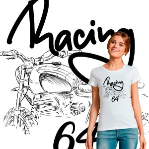 T-shirt femme moarde cafe racer Racing 64 moto