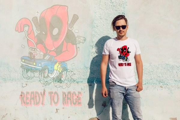 Tee shirt deadpool crossover hotwheels