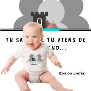 body bébé edition limitée logo du groupe de la page Facebook Tu sais que tu viens de Pau quand en partenariat avec Mathilde LMD Duton une des premières influenceuse de France