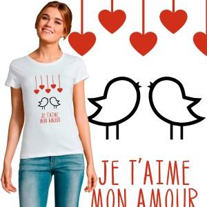 t-shirt femme spécial sait valentin message d'amour je t'aime mon amour oiseaux et coeur