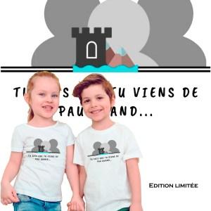 tee-shirt enfant edition limitée logo du groupe de la page Facebook Tu sais que tu viens de Pau quand en partenariat avec Mathilde LMD Duton une des premières influenceuse de France