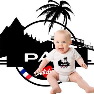 body bébé Pau adishatz nouveau logo de la ville de pau, avec son chateau et son funiculaire adishatz