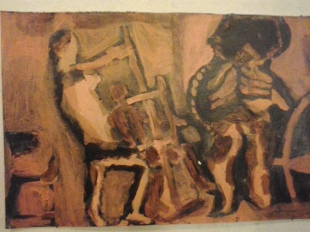 A harmadéves festő szakos Sándor János a képeket még akkor festette, amikor eszébe sem jutott festőnek készülni. Ezen az estén ezt érezte alkalmasnak kiállítani.