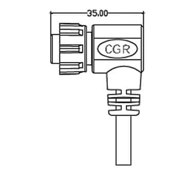 Lascar CABLE IP-12W-RA Right-Angle Power Cable with IP67