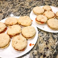 Once the halves were baked, we placed the guava jam in the middle, then another cookie, and viola!