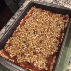 Its ready to bake! This is what the guava crumble bars look like before baking.