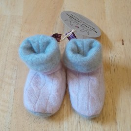 Pattern Pink & Grey Baby Booties