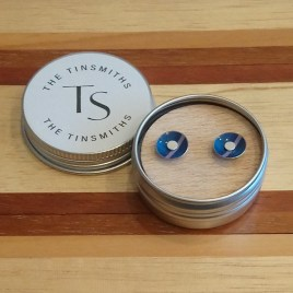 Blue Tartan Round Stud Earrings